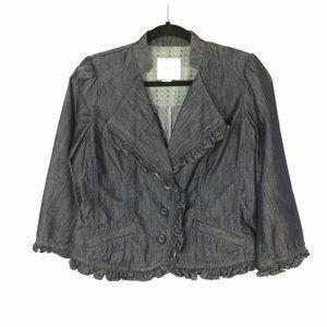 IDRA denim chambray ruffle cropped jacket B7